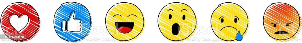 Ícones de mídia social - coleção de emoticons. Vector. - ilustração de arte em vetor