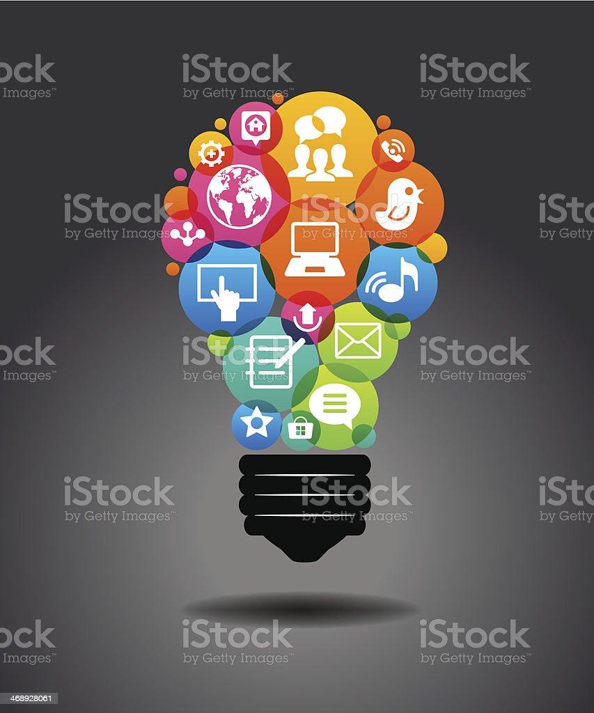 Social media icons form the shape of the light bulb. vector art illustration
