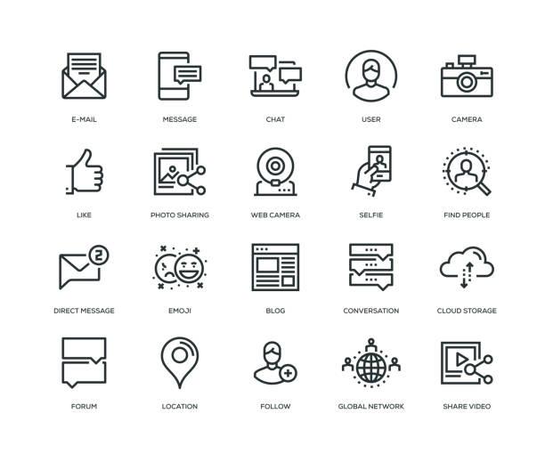 Social Media Icons - Line Series Social Media Icons - Line Series conceptual symbol stock illustrations