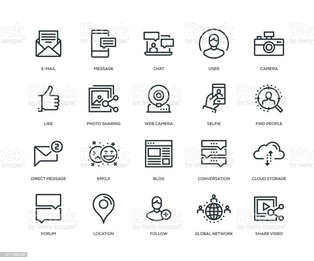 Social Media Icons - Line Series vector art illustration
