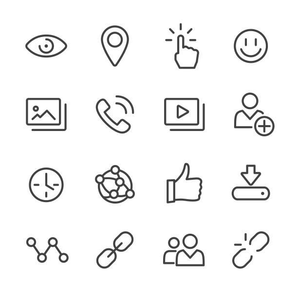 ilustrações, clipart, desenhos animados e ícones de ícones sociais dos media-linha série - imagem