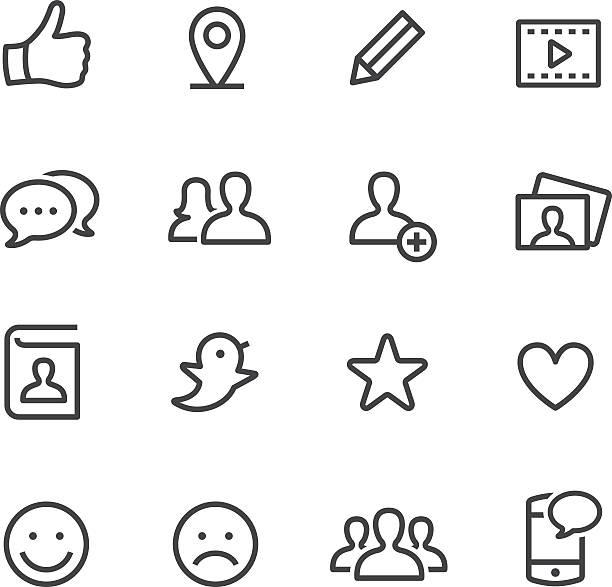 ilustraciones, imágenes clip art, dibujos animados e iconos de stock de social media icons-line - lentes contacto