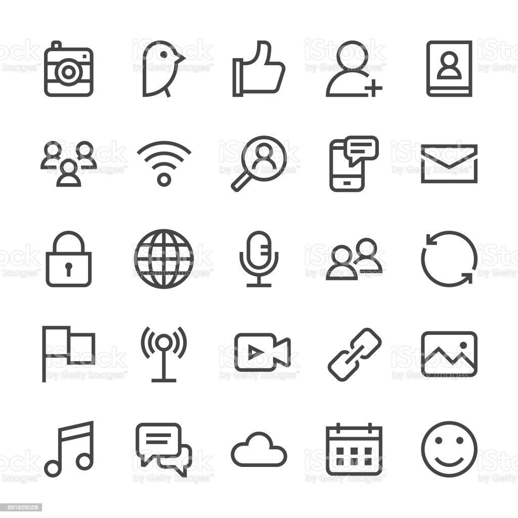Social Media Icons - MediumX Line vector art illustration