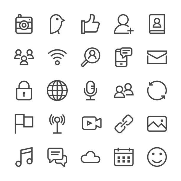 Social Media Icons - MediumX Line Social Media Icons - MediumX Line Vector EPS File. social media icons stock illustrations