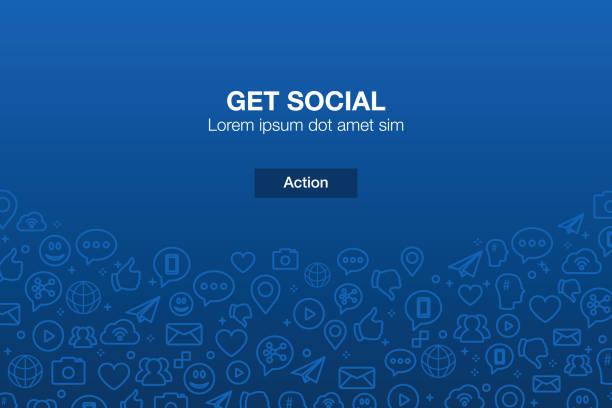 ilustrações, clipart, desenhos animados e ícones de ícones das mídias sociais mosaico fundo com chamada à ação - social media