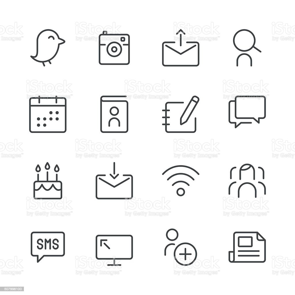 Social Media Icons set 1 | Black Line series vector art illustration