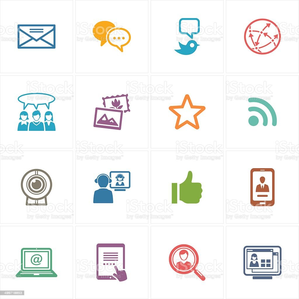Social Media Icons Set 1 - Colored Series vector art illustration