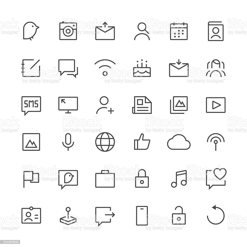 Social Media icons set 1 | Thin Line series vector art illustration