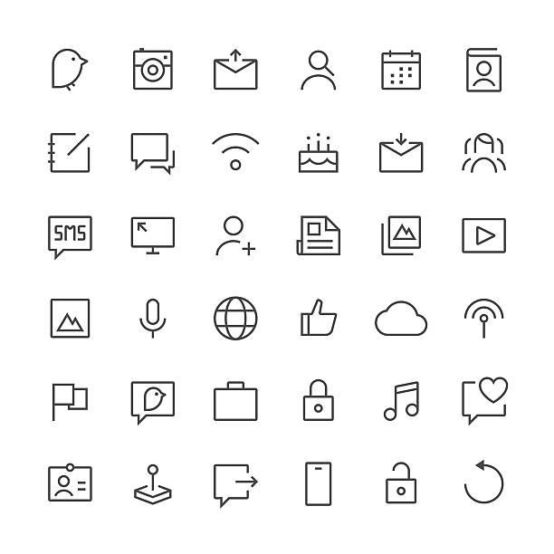 illustrations, cliparts, dessins animés et icônes de icônes média sociaux ensemble 1/fine ligne series - calendrier de l'avant