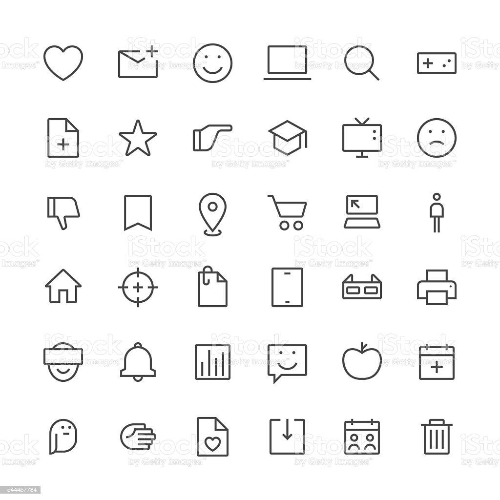 Social Media icons set 2 | Thin Line series vector art illustration