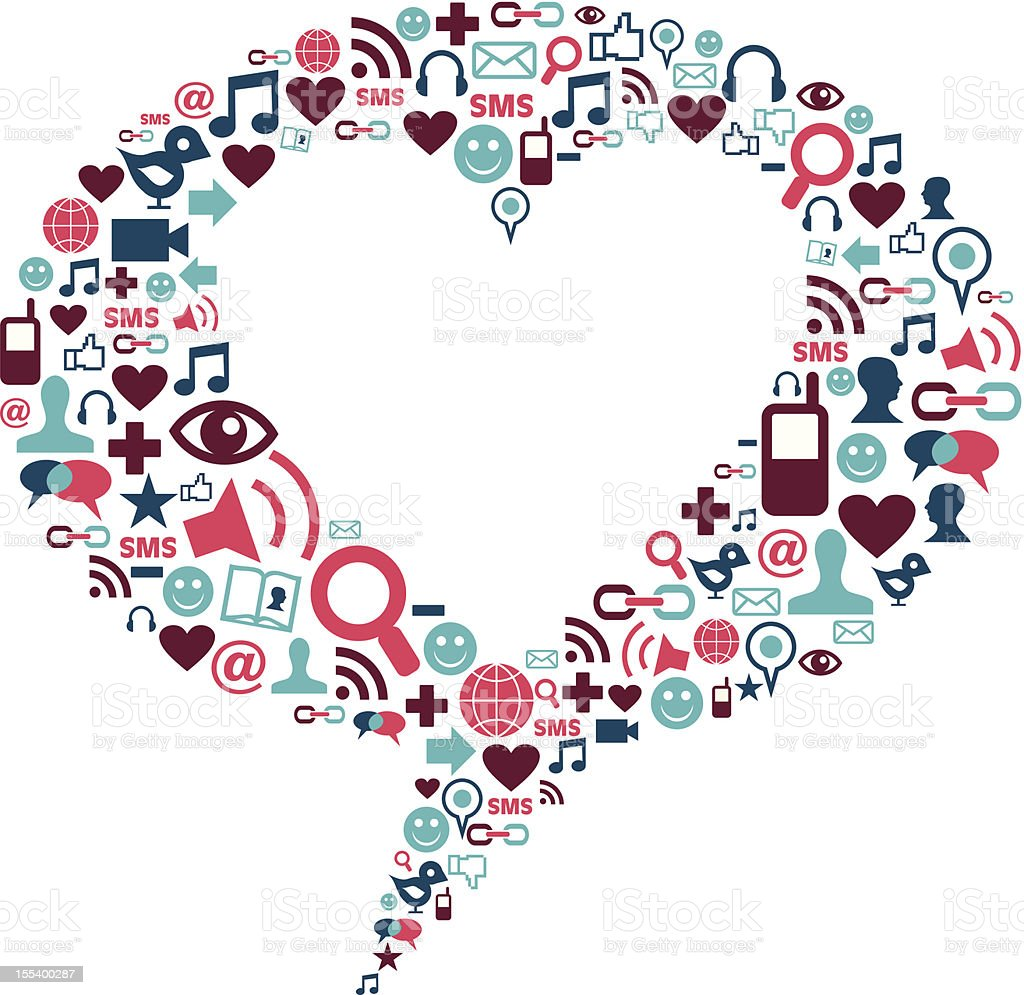 Social media icons set in love bubble vector art illustration