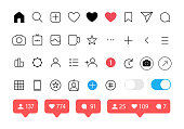 Social media icons set. Like, follower, comment, home, camera, user search Vector illustration on white background