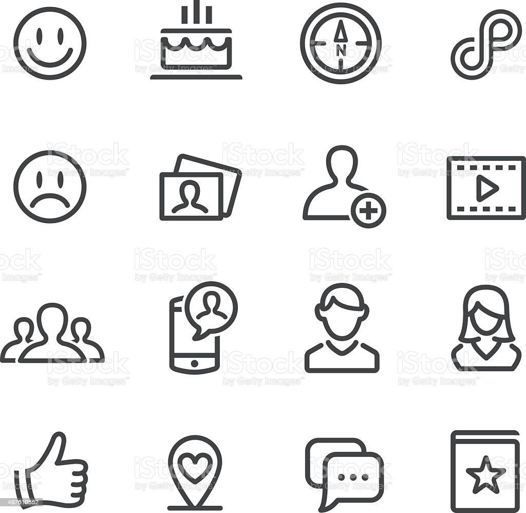 Social Media Icons Set - Line Series vector art illustration