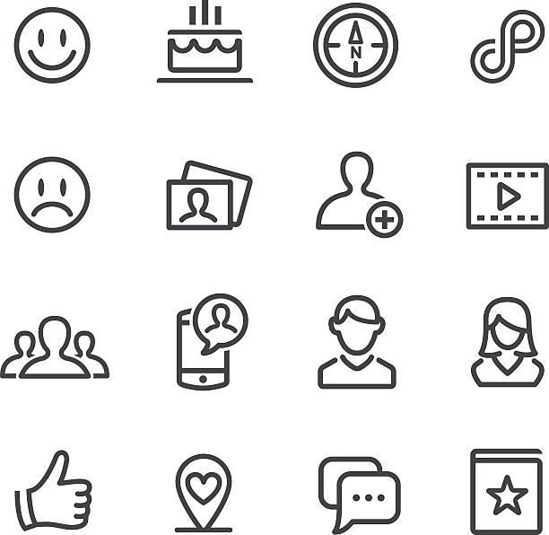 ilustrações de stock, clip art, desenhos animados e ícones de conjunto de ícones de redes sociais-linha série - video call