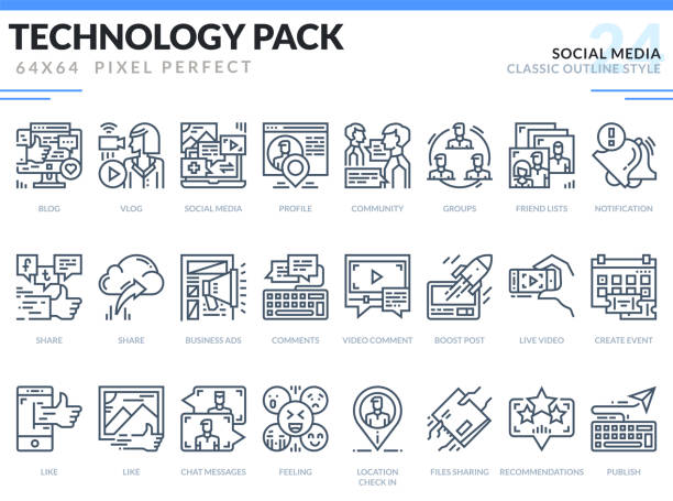social media icons set. technology outline icons pack. pixel perfect thin line vector icons for web design and website application. - monochrom stock illustrations