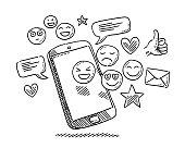 istock Social Media Icons Smartphone Drawing 1271937039