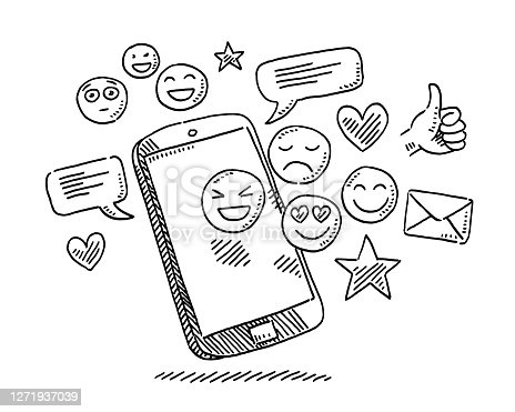 Hand-drawn vector drawing of a Social Media Icons and a Smartphone. Black-and-White sketch on a transparent background (.eps-file). Included files are EPS (v10) and Hi-Res JPG.