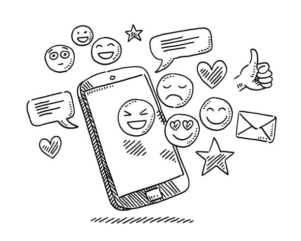 Social Media Icons Smartphone Drawing Hand-drawn vector drawing of a Social Media Icons and a Smartphone. Black-and-White sketch on a transparent background (.eps-file). Included files are EPS (v10) and Hi-Res JPG. celebration stock illustrations