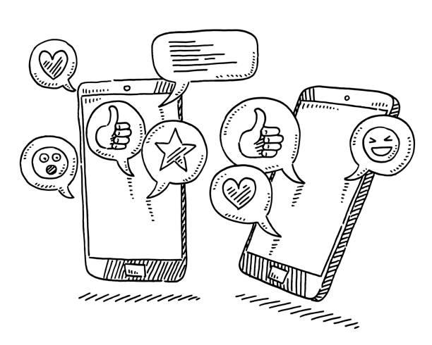 Social Media Icons Speech Bubbles Drawing vector art illustration