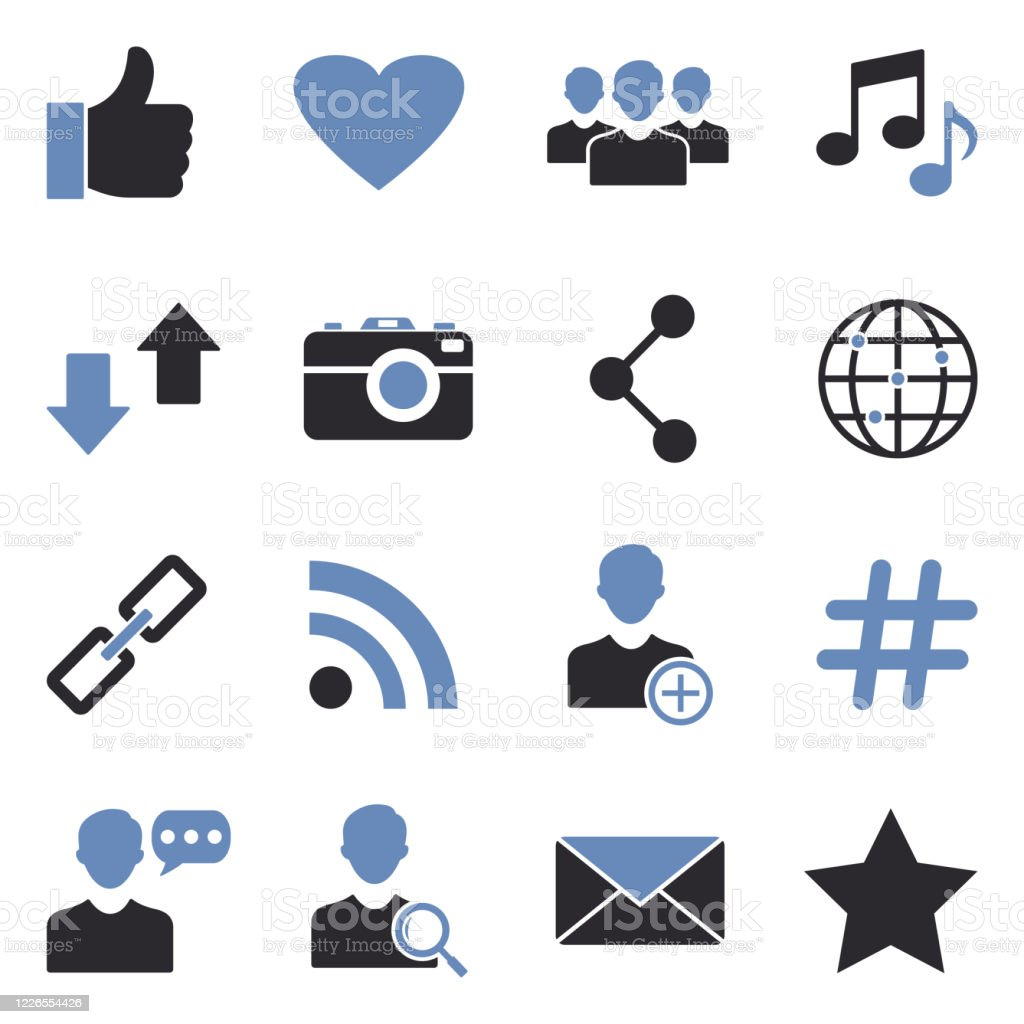 Social Media Icons Two Tone Flat Design Vector Illustration Stock Illustration Download Image Now Istock