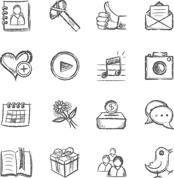 ilustraciones, imágenes clip art, dibujos animados e iconos de stock de iconos de redes sociales - calendario de flores