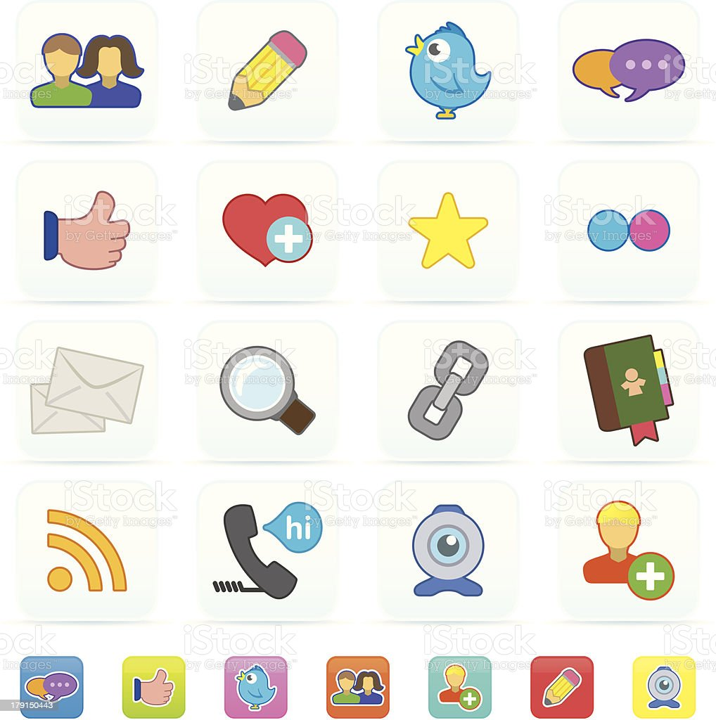 Social media icons royalty-free stock vector art