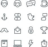 Social media, web, icon, icon set, social networking, avatar, face, line, male, female, vector