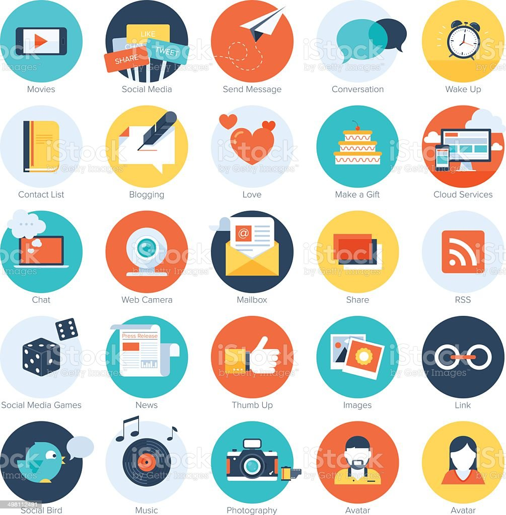 Social media icons. vector art illustration