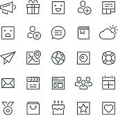 Social media, web, icon set, gift, community, SMM, emoji