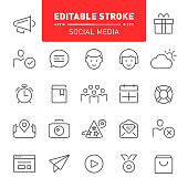 Social media, web, editable stroke, outline, icon, icon set, community