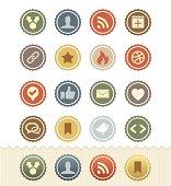 Social Media Icons : Vintage Badge Series