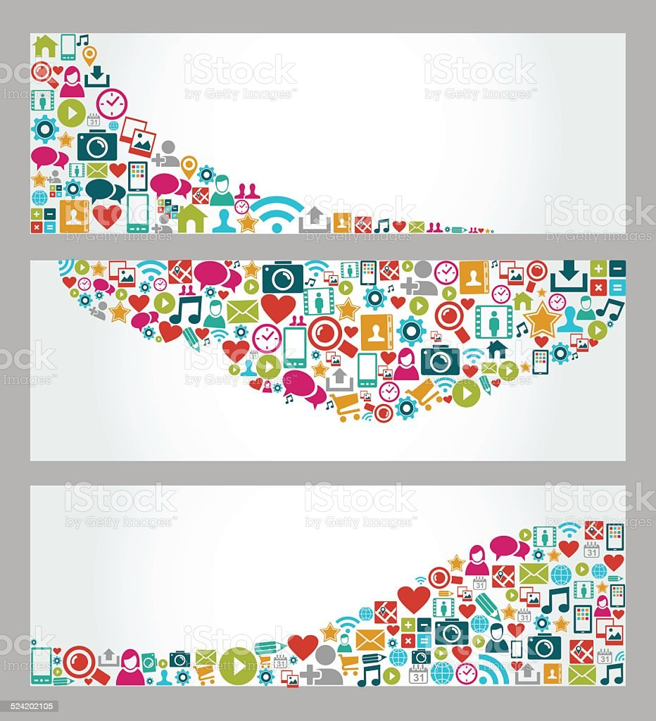 Social media icons web banner set vector art illustration