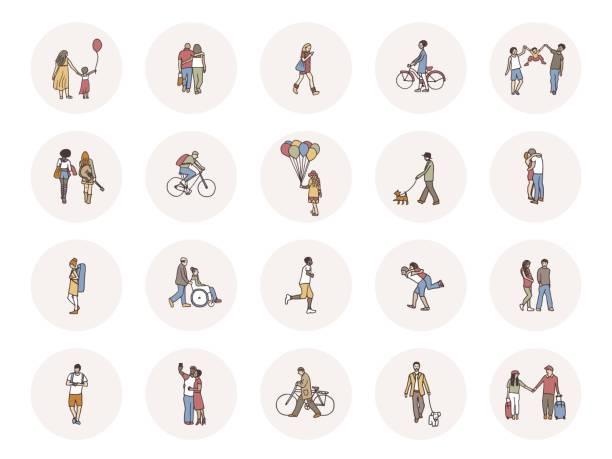 Social-Media-Ikonen mit winzigen Fußgängern – Vektorgrafik