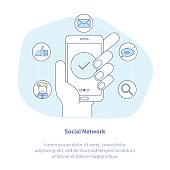 Social media illustration concept. Mobile phone in hand - social network exposure and reputation management, receiving comments, notifications and appreciations from customers and followers.