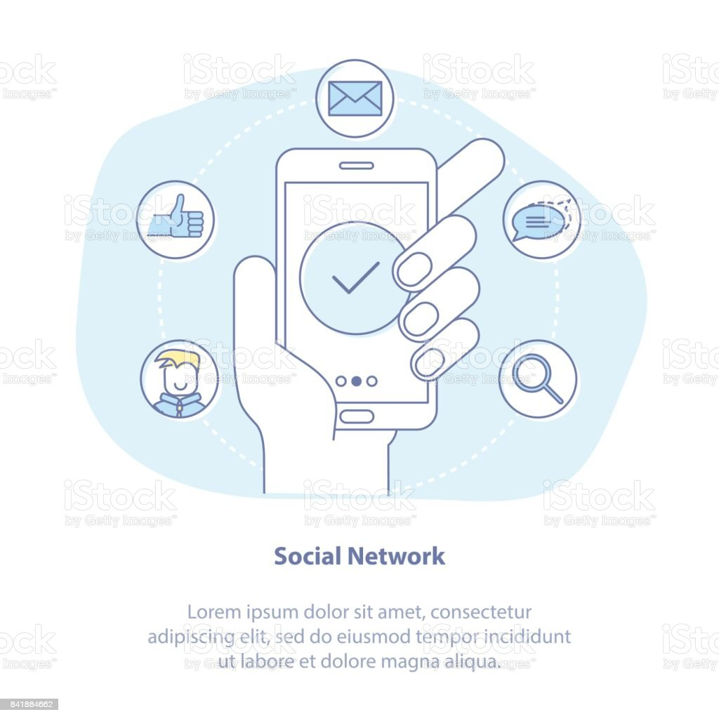 Social Media illustration concept. Mobile phone in hand - social network exposure and reputation management, receiving comments, notifications and appreciations from customers and followers. vector art illustration