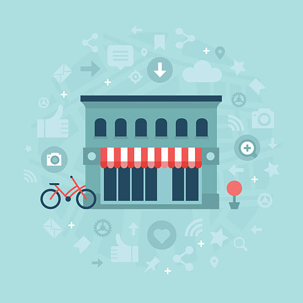social media in local business - small business stock illustrations