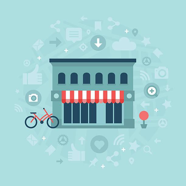 социальные медиа в местный бизнес - small business stock illustrations