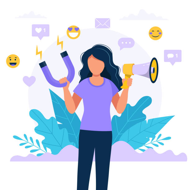 Social media influencer. Illustration with woman holding megaphone and magnet. Different social media icons. Vector illustration in flat style Vector illustration in flat style persuasion stock illustrations
