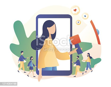 Social media influencer. Key Opinion Leader. SMM. Blogger girl with megaphone and Tiny people followers. Influencing audiences. Modern flat cartoon style. Vector illustration