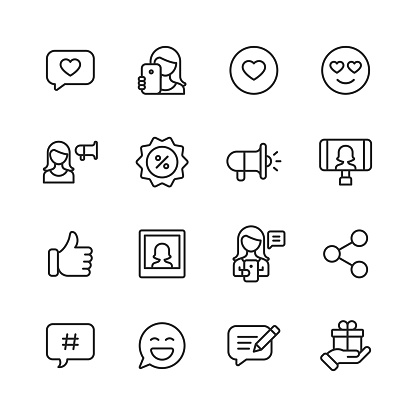 16 Social Media Influencer  Outline Icons. Social Media, Like Button, Text Message, Online Messaging, Notification, Mobile, Web Page, Love, Heart, Selfie, Photography, Woman, Photo, Emoticon, Digital Marketing, Discount, Promotion, Badge, Megaphone, Influence, Advertising, Video Call, Video Streaming, Live Stream, Live Event, Thumbs Up, Communication, Social Sharing, Hashtag, Gift, Video Game, Video Tutorial, Make Up, Webcam, Work From Home, Travel, Internet, Five Star, Luxury, Vacation, Content, Blogging, Writing, Customer Engagement.