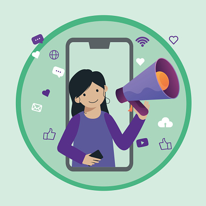 Social media influencer. Woman holding megaphone and a phone in his hands in the social profile frame. Marketing, SMM banner, social media or network promotion, flyer. Different social network icons.