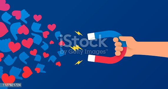 Social media influencing and marketing hand with magnet design.