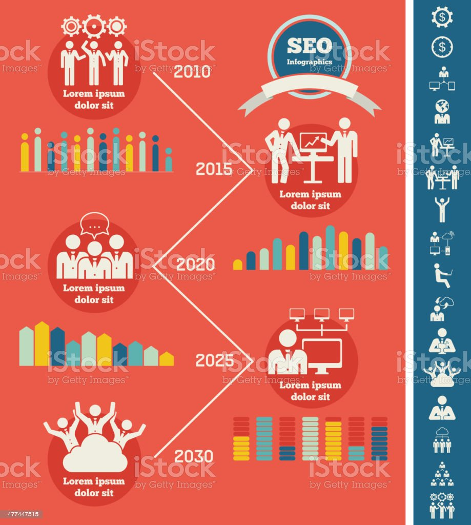 Social Media Infographic Template Stock Illustration