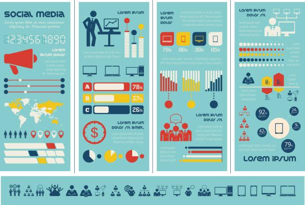 социальные сети инфографика шаблон. - понятия и темы stock illustrations