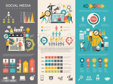 Social media infographic. Work people socializing like rating sharing vector graphic social design template. Social media stats information illustration
