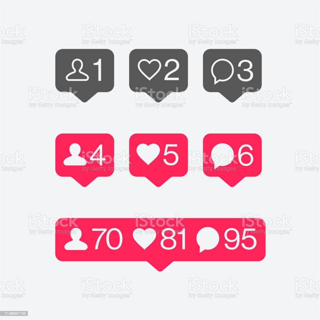 Social media Instagram Flat Vector Icon Set. Like, Follower, Comment....