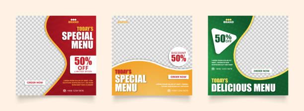 social media instagram post template for food promotion simple banner frame. sale ads promo - instagram stock illustrations