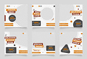istock social media instagram post template for food promotion simple banner frame. instagram and facebook ads template 1225313453