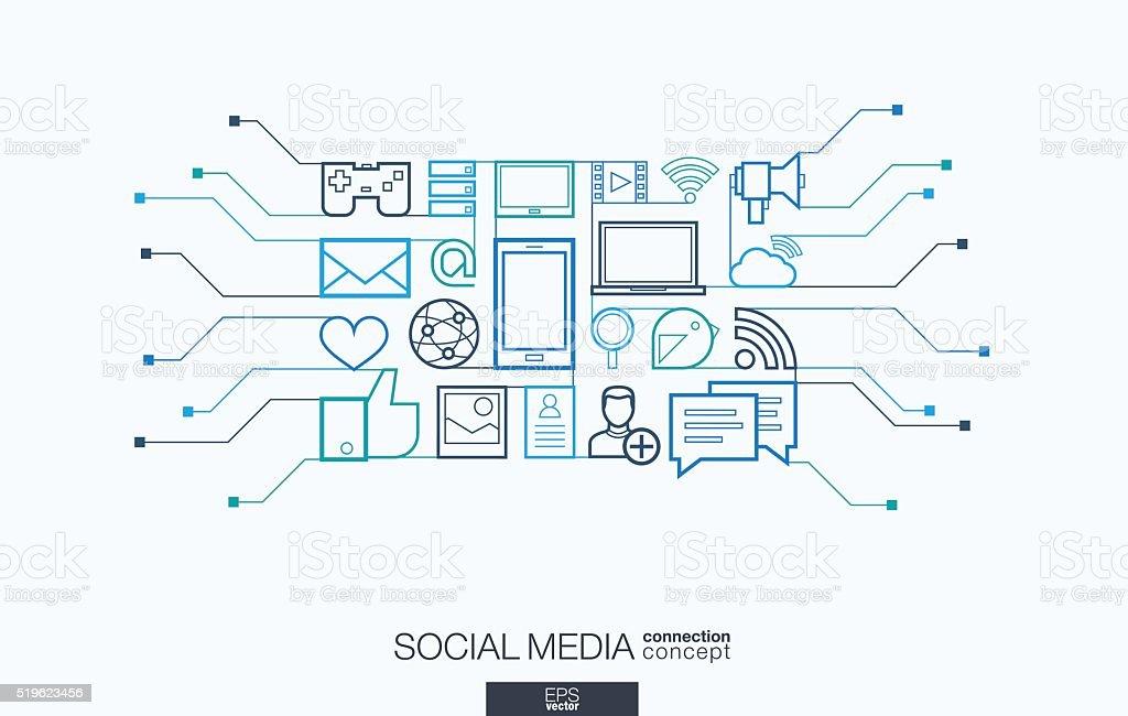 Social media integrated thin line symbols vector art illustration