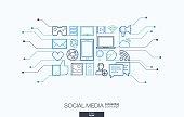 Social media integrated thin line symbols